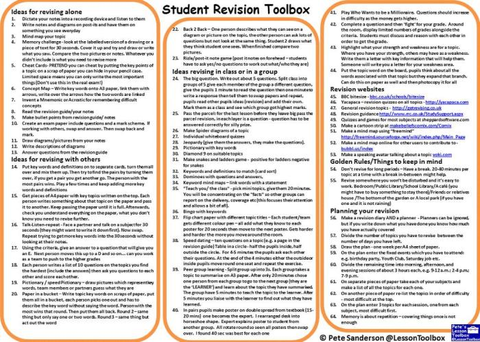 Revision toolbox